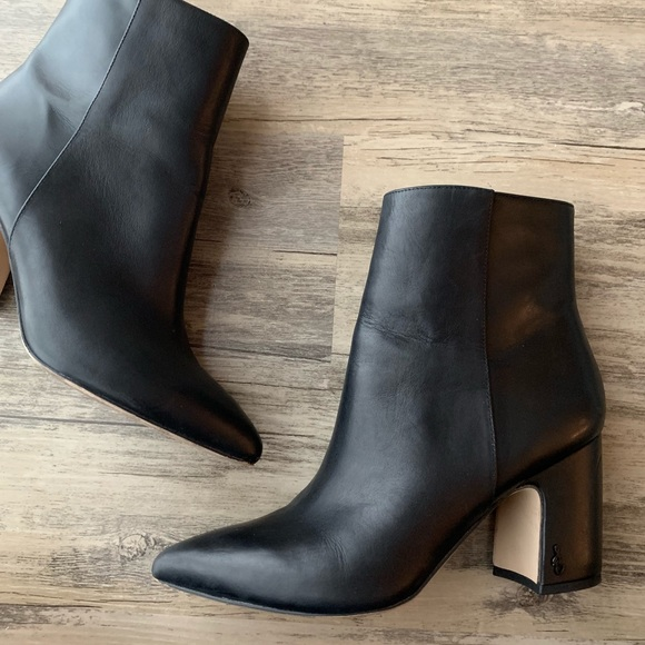 c25886abc1dc0d Sam Edelman Hilty Black Leather Block Heel Bootie.  M 5c7157ebe944ba6c941cf8e8